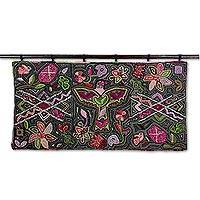 Recycled cotton blend tapestry, 'Kaleidoscopic Nature' - Colorful Nature Motif Cotton Blend Tapestry from Guatemala