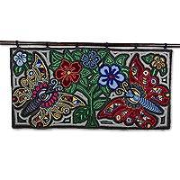 Recycled cotton blend tapestry, 'Marvels of Nature' - Butterfly and Floral Motif Guatemalan Cotton Blend Tapestry