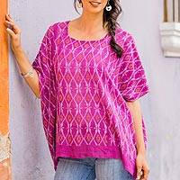 Cotton caftan, 'Magenta River' - Woven Magenta Cotton Caftan from Guatemala