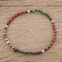 Multi-gemstone beaded stretch anklet, 'Latin Vibrance' - Multi Gemstone Beaded Stretch Anklet from Guatemala
