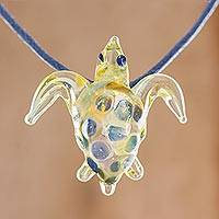Glass pendant necklace, 'Beautiful Sea Turtle in Yellow' - Glass Sea Turtle Pendant Necklace in Yellow from Costa Rica
