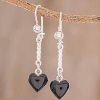 Jade dangle earrings, 'Black Spirals of Love' - Heart-Shaped Black Jade Dangle Earrings from Guatemala