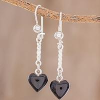 Jade dangle earrings, 'Black Spirals of Love'