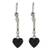 Jade dangle earrings, 'Black Spirals of Love' - Heart-Shaped Black Jade Dangle Earrings from Guatemala thumbail