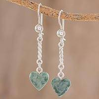 Jade dangle earrings, 'Green Spirals of Love' - Heart-Shaped Green Jade Dangle Earrings from Guatemala
