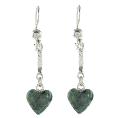 Jade dangle earrings, 'Green Spirals of Love' - Heart-Shaped Green Jade Dangle Earrings from Guatemala