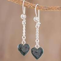 Jade dangle earrings, 'Dark Green Spirals of Love' - Heart-Shaped Dark Green Jade Dangle Earrings from Guatemala