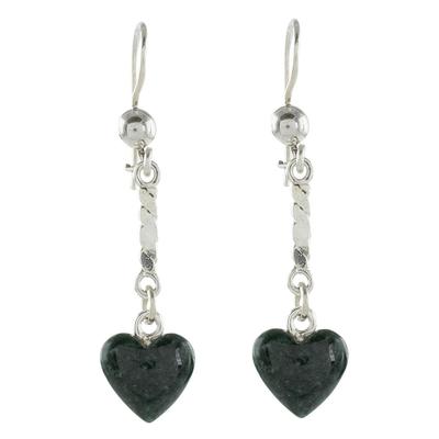 Jade dangle earrings, 'Dark Green Spirals of Love' - Heart-Shaped Dark Green Jade Dangle Earrings from Guatemala