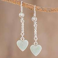 Jade dangle earrings, 'Apple Green Spirals of Love' - Heart-Shaped Apple Green Earrings from Guatemala