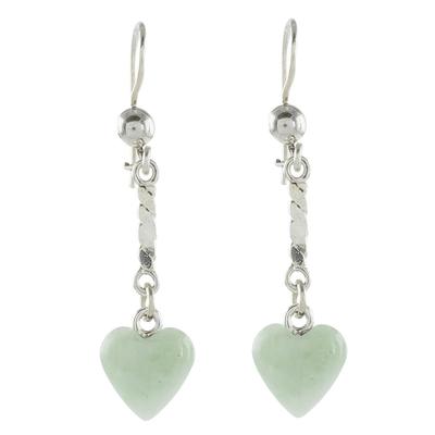 Jade dangle earrings, 'Apple Green Spirals of Love' - Heart-Shaped Apple Green Earrings from Guatemala
