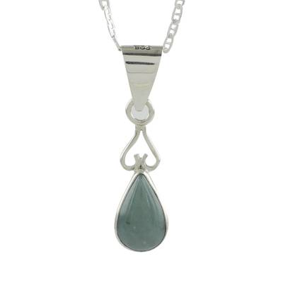 Jade pendant necklace, 'Marvelous Drop in Light Green' - Jade and Sterling Silver Pendant Necklace from Guatemala