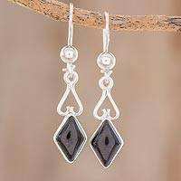 Jade dangle earrings, 'Marvelous Black Diamonds'