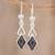Jade dangle earrings, 'Marvelous Black Diamonds' - Diamond-Shaped Black Jade Dangle Earrings from Guatemala (image 2) thumbail