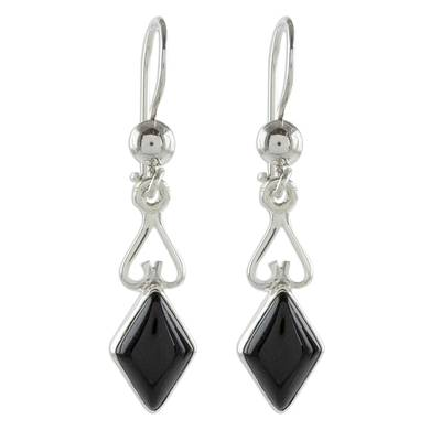 Jade dangle earrings, 'Marvelous Black Diamonds' - Diamond-Shaped Black Jade Dangle Earrings from Guatemala