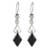 Jade dangle earrings, 'Marvelous Black Diamonds' - Diamond-Shaped Black Jade Dangle Earrings from Guatemala thumbail
