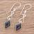 Jade dangle earrings, 'Marvelous Black Diamonds' - Diamond-Shaped Black Jade Dangle Earrings from Guatemala (image 2b) thumbail