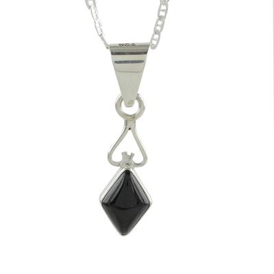 Diamond-Shaped Black Jade Pendant Necklace from Guatemala