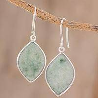 Jade reversible dangle earrings, 'Vibrant Leaves'