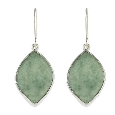 Jade reversible dangle earrings, 'Vibrant Leaves' - 2-Tone Green Jade Dangle Earrings Crafted in Guatemala