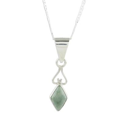Jade pendant necklace, 'Marvelous Apple Green Diamond' - Diamond-Shaped Apple Green Jade Pendant Necklace Guatemala