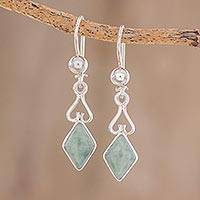Jade dangle earrings, 'Marvelous Apple Green Diamonds'