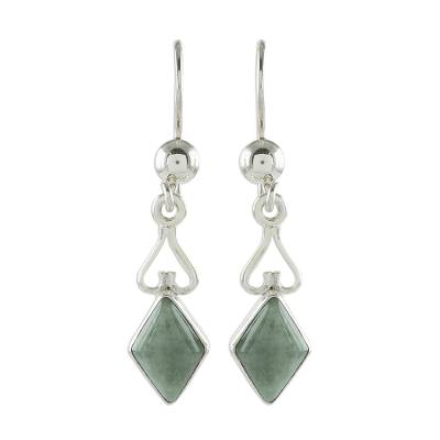 Jade dangle earrings, 'Marvelous Apple Green Diamonds' - Diamond-Shaped Apple Green Jade Earrings from Guatemala