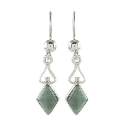 Diamond-Shaped Apple Green Jade Earrings from Guatemala