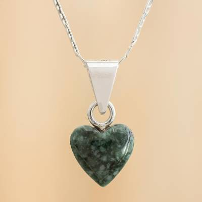 Jade pendant necklace, 'Green Symbol of Love' - Heart-Shaped Green Jade Pendant Necklace from Guatemala