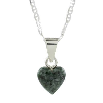 Heart-Shaped Green Jade Pendant Necklace from Guatemala