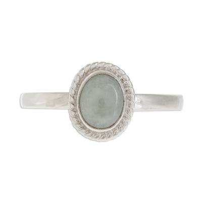 Jade solitaire ring, 'Oval Beauty' - Apple Green Jade Solitaire Ring Crafted in Guatemala