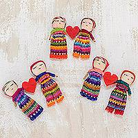 Cotton worry dolls, 'Love and Hope' (pair)