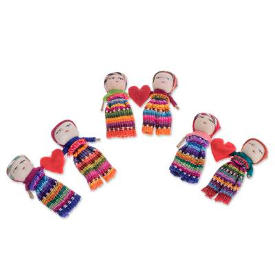 Cotton worry dolls, 'Love and Hope' (pair) - Two Guatemalan Worry Dolls with 100% Cotton Pouch