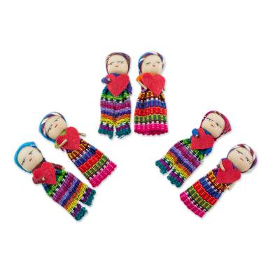 Cotton worry dolls, 'Joined in Love' (set of 6) - Worry Dolls with 100% Cotton Pouch from Guatemala (Set of 6)
