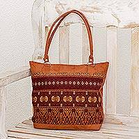 Cotton accent tote, 'Foreign Lands' - Handwoven Cotton Accent Tote with Faux Suede