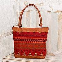 Cotton tote, 'Magic Shapes' - Faux Leather Accent Cotton Tote in Red from Guatemala