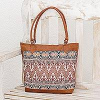 Cotton-accented tote, 'Mountains of Guatemala' - Artisan Crafted Faux Suede Cotton Accent Tote
