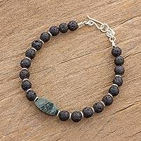 Jade beaded wristband bracelet, 'Volcanic Treasure' - Black Lava Stone and Green Jade Beaded Wristband Bracelet