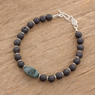 f155b4f8e7 Black Lava Stone and Green Jade Beaded Wristband Bracelet - Volcanic ...