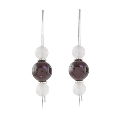 Rose quartz and garnet drop earrings, 'Rosy Sheen' - Rose Quartz and Garnet Drop Earrings from Guatemala