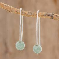 Jade drop earrings, 'Apple Green Chimera Beauty' - Light Green Jade Drop Earrings from Guatemala