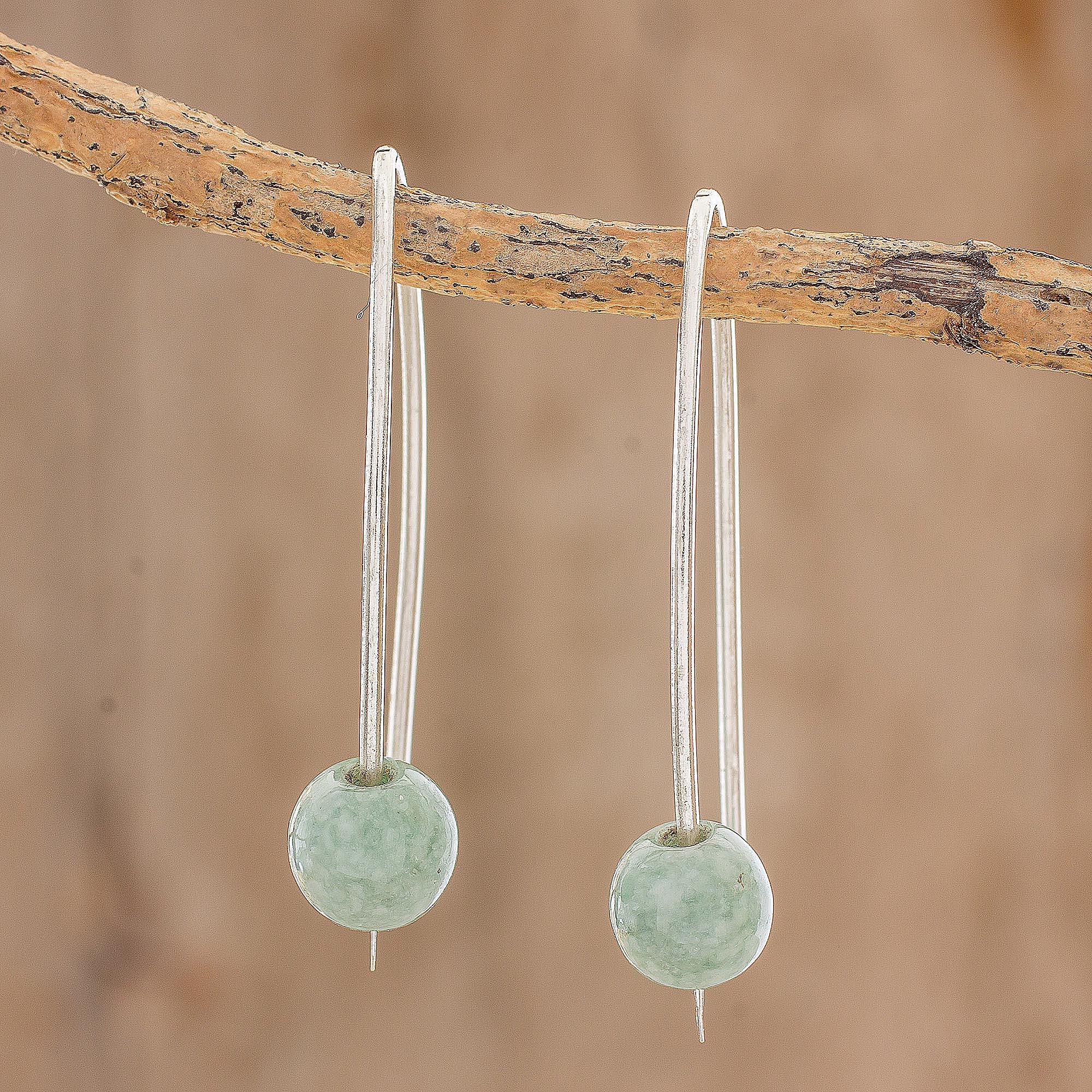 Light Green Jade Drop Earrings