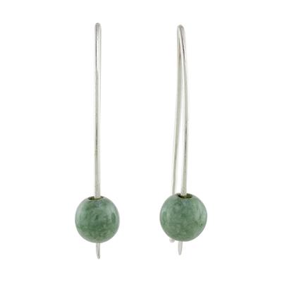 Jade drop earrings, 'Apple Green Chimera Beauty' - Light Green Jade Drop Earrings from Guatemala