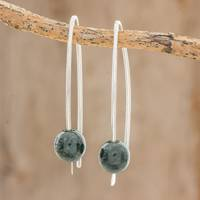 Jade drop earrings, 'Dark Green Chimera Beauty' - Dark Green Jade Drop Earrings from Guatemala