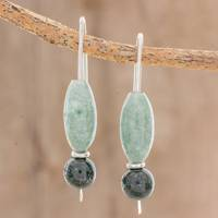 Jade drop earrings, 'Natural Combination' - Natural Jade Drop Earrings Crafted in Guatemala