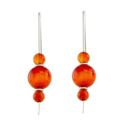 Agate drop earrings, 'Sweet Orange' - Orange Agate Drop Earrings from Guatemala