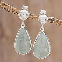 Jade dangle earrings, 'Apple Green Magnificent Drops' - Light Green Jade Dangle Earrings from Guatemala
