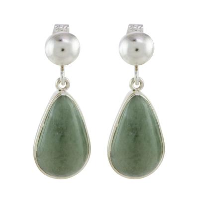 Jade dangle earrings, 'Apple Green Magnificent Drops' - Light Green Jade Dangle Earrings from Guatemala