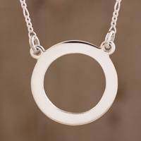 Sterling silver pendant necklace, 'Ring of Life' - Circular Sterling Silver Pendant Necklace from Guatemala