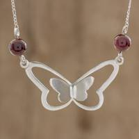 Garnet pendant necklace, 'Red Butterfly' - Garnet Butterfly Pendant Necklace from Guatemala