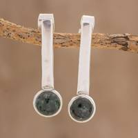 Jade drop earrings, 'Dark Green Timeline' - Modern Dark Green Jade Drop Earrings from Guatemala